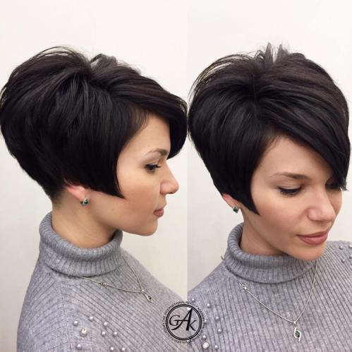 Tapered Angled Pixie Haircut For Thick Hair