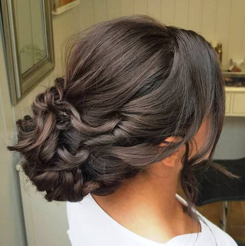 twisted bun updo for long hair