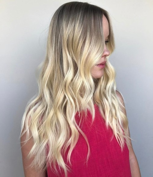 Wavy Blonde Balayage Hairstyle Long Hair
