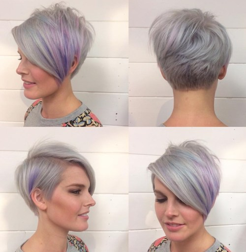 Gray And Purple Layered Pixie With Long Bangs