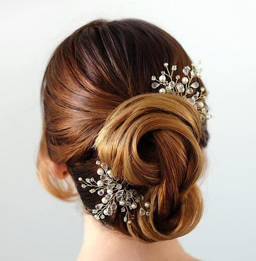 40 chic wedding hair updos for elegant brides twisted bridal updo with beaded hair pieces junglespirit Choice Image