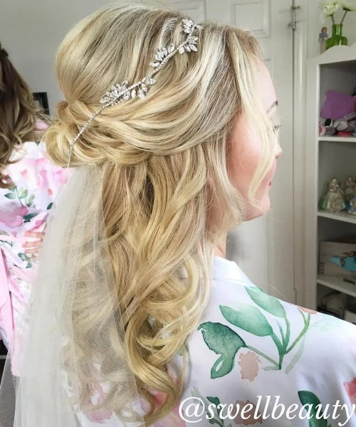 Wedding Blonde Half Up Half Down Hair