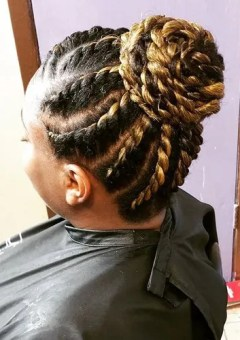 black and blonde bun from flat twists