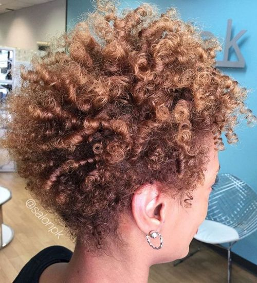 Short Light Brown Afro With Highlights