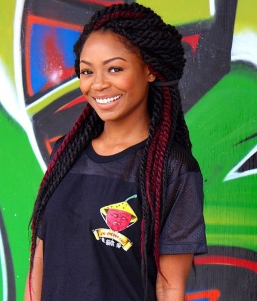 Black And Burgundy Twists