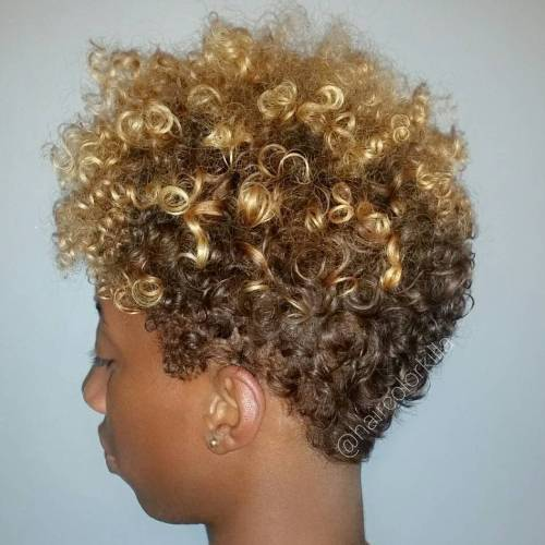 Short Brown Blonde Afro