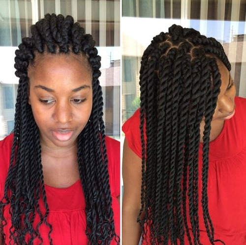 Front twist black hairstyle