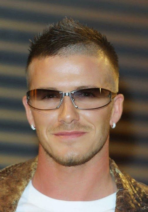 David Beckham extra short haircut with shaved temples
