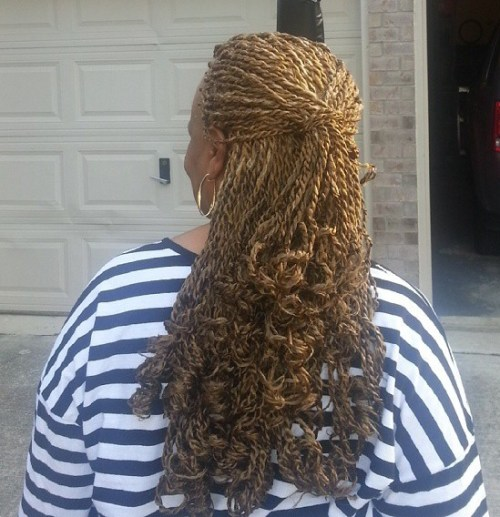 Thin Blonde Twists With Curly Ends