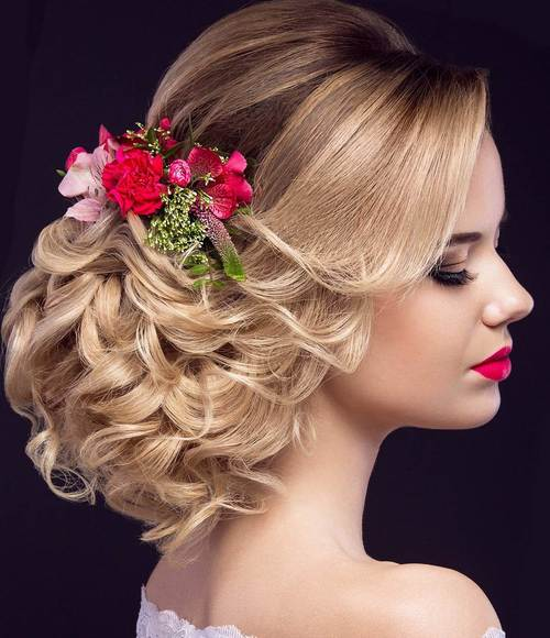 formal low curly updo