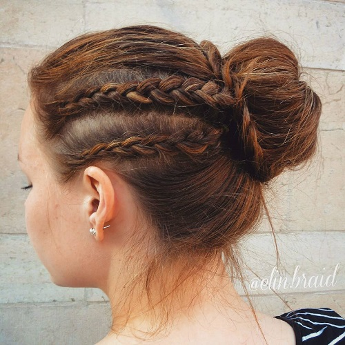 two braids and a bun updo