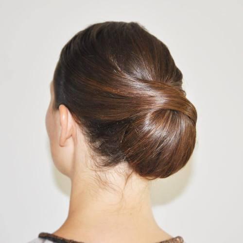 low sleek formal bun