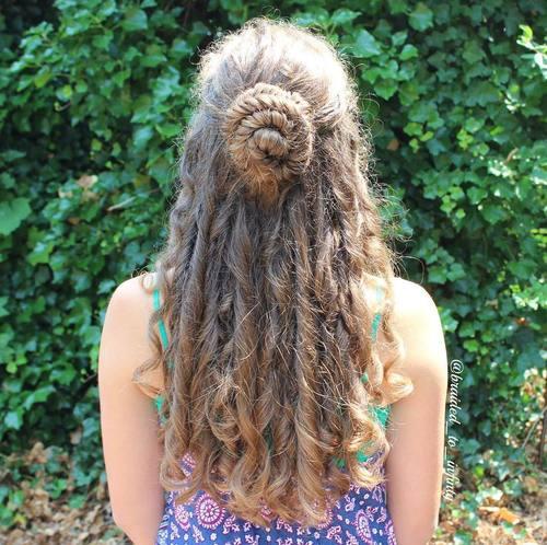 bun half updo for long curly hair