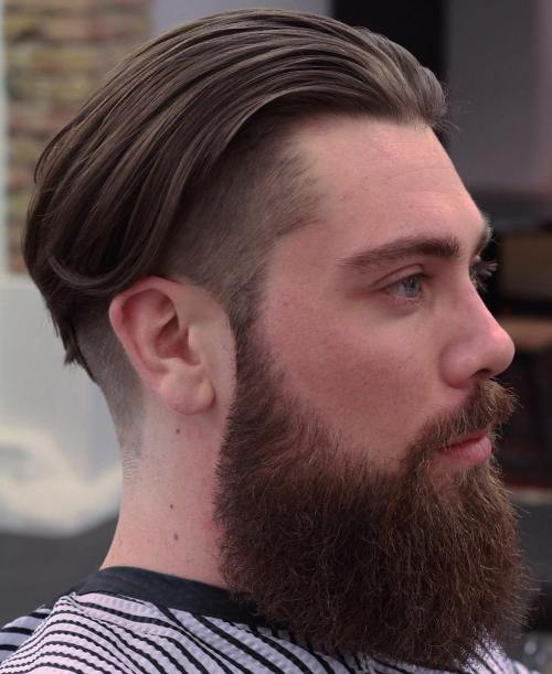 Long Top Undercut With A Full Beard