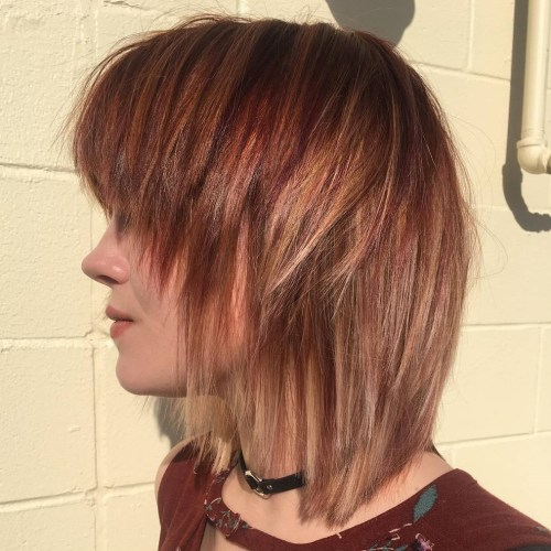 Medium Choppy Reddish Bronde Hairstyle