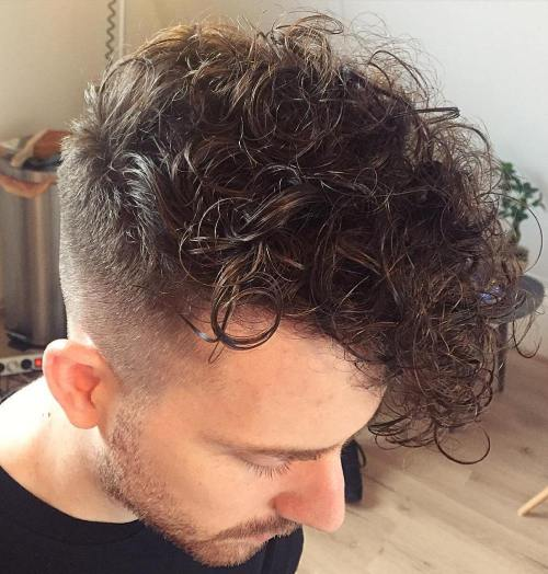 Curly Long Top Short Sides Hairstyle For Men