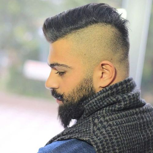 Shaved Sides And Back Menu0027s Hairstyle With Beard