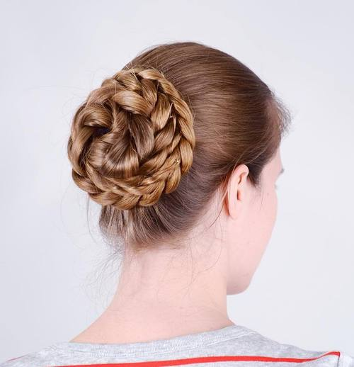 easy braided bun for long hair