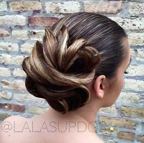 beautiful sleek wedding updo