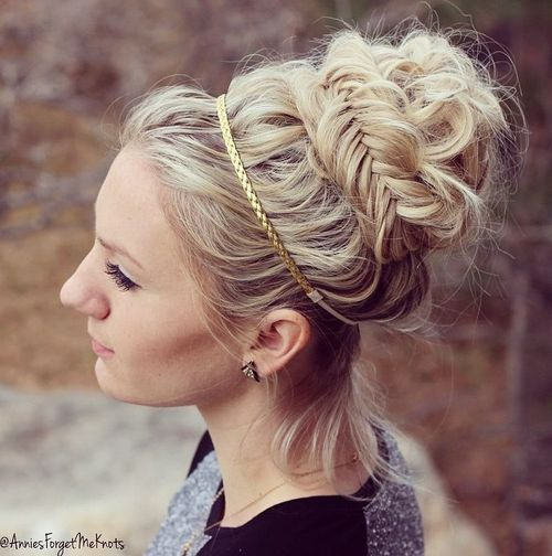 messy greek updo with fishtail