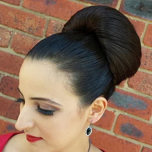 sleek bun updo for prom