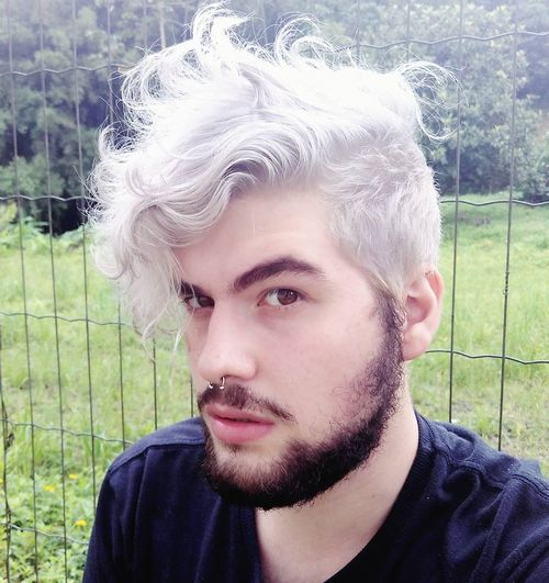 Silver Gray Curly Hairstyle For Men