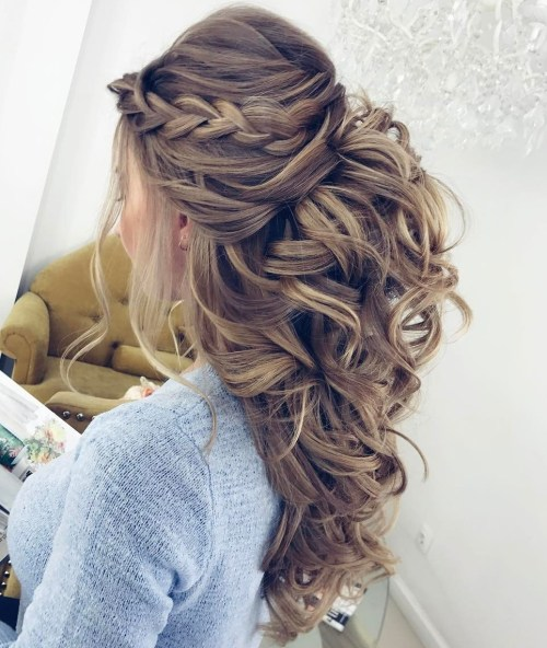 Curly Half Updo With A Braid And Bouffant
