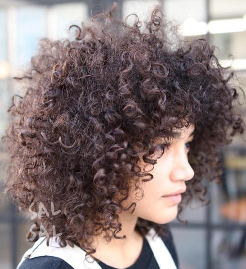 40 Cute Styles Featuring Curly Hair with Bangs - Cute Hairstyles For Shoulder Length Hair