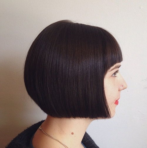 sleek blunt bob with arched bangs