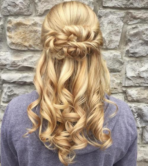 Blonde Curly Half Updo With Twists