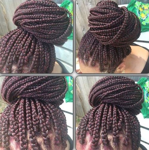 bun from box braids