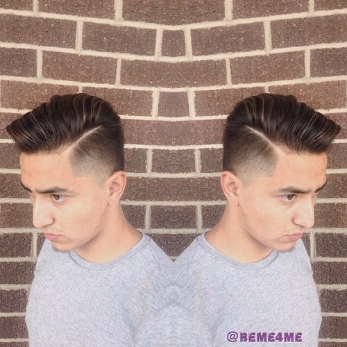polished side-parted fade hairstyle