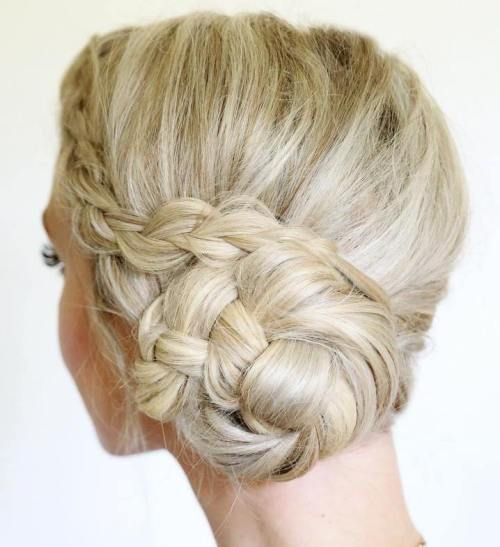 Side Braided Bun Updo