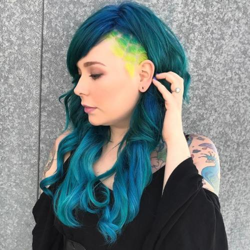 Long Teal Hairstyle With Temple Undercut