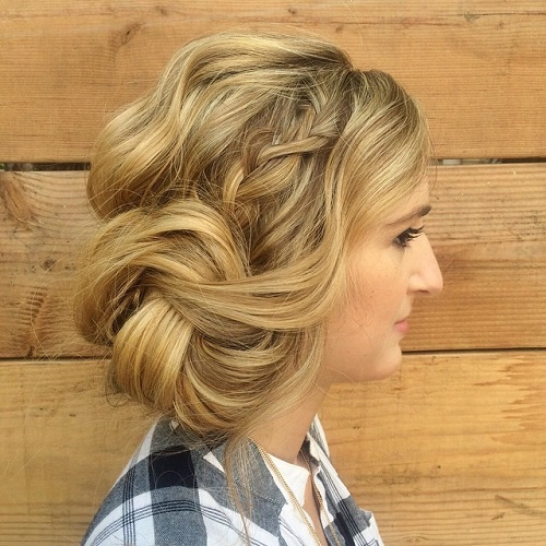 Side Braid And Twisted Side Bun Updo