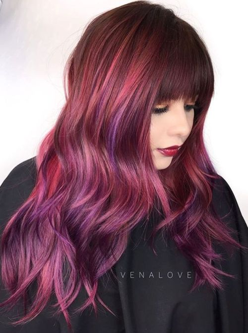 Burgundy And Purple Balayage Hair With Bangs