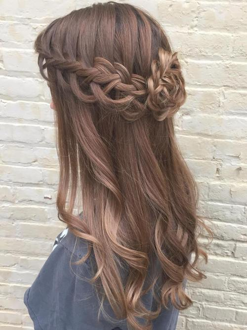 Half Updo With Waterfall Braid And Bun