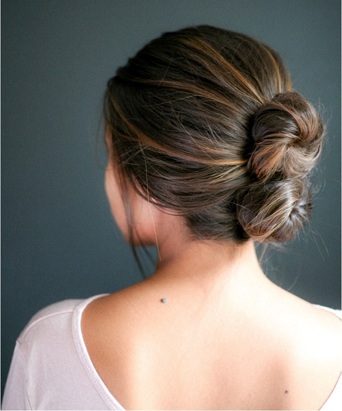 quick double bun updo