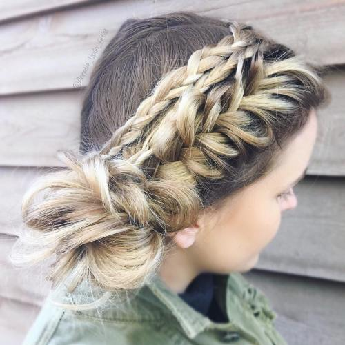 Side Bun With Braids Updo