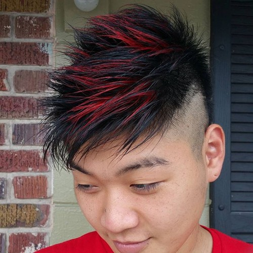 spiky Asian men hairstyle with highlights