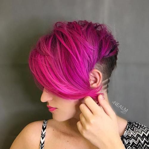 Half Shaved Pink Pixie