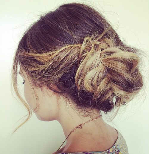Messy Bun From Fishtail Braid