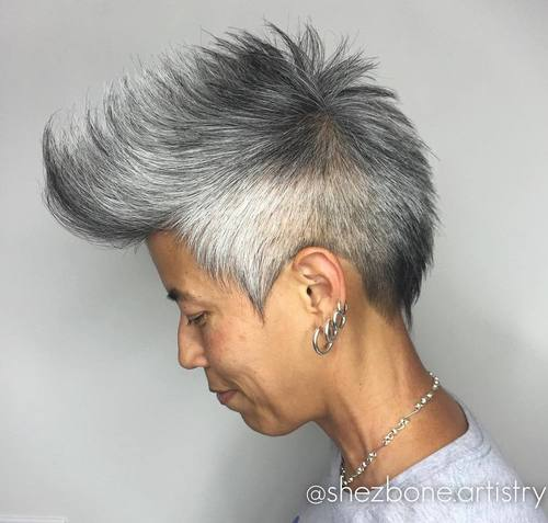 Asian salt and pepper fauxhawk for women