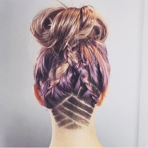 Superior Messy Braids And Bun Hairstyle With Shaved Nape Design