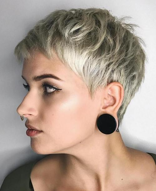 Short Shaggy Blonde Pixie