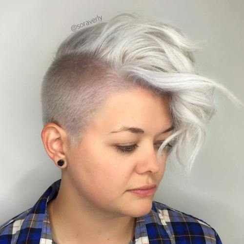 Half Shaved Silver Haircut For Women