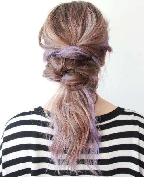 Messy Bun And Ponytail Hairstyle