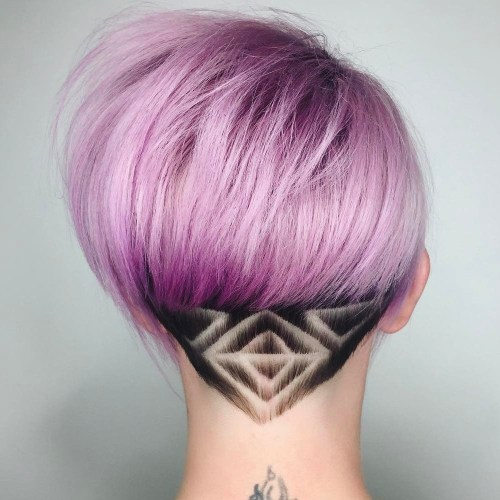 Pastel Purple Bob With Nape Hair Tattoo