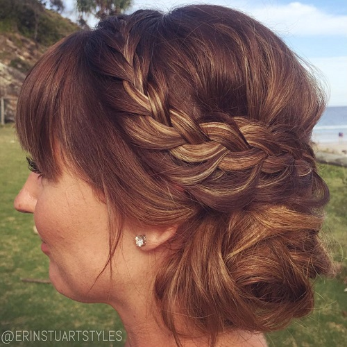 Side Bun With Braid And Bangs