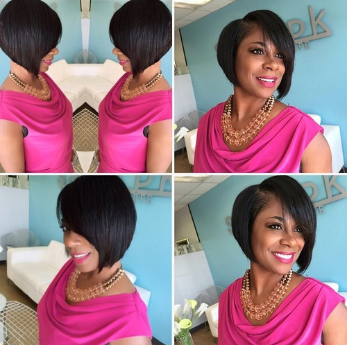 side-parted angled bob for black women